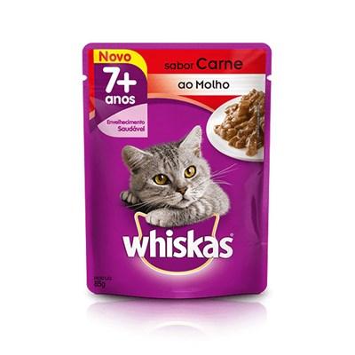 Sachê Whiskas para Gatos Adultos com mais de 7 Anos Carne 85gr