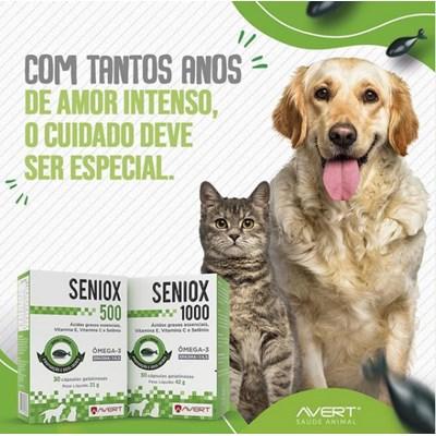 Seniox 500 suplemento para cachorros e gatos 30 cápsulas 500mg