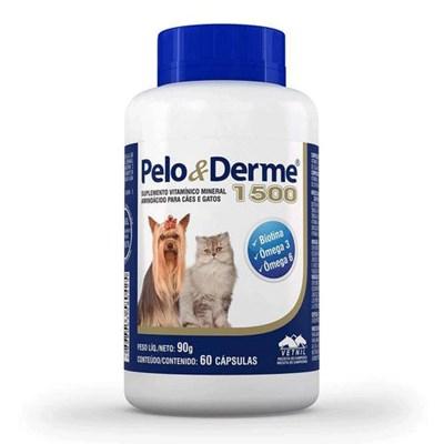 Suplemento Pelo e Derme para Cães e Gatos com 60 Cápsulas 1500mg